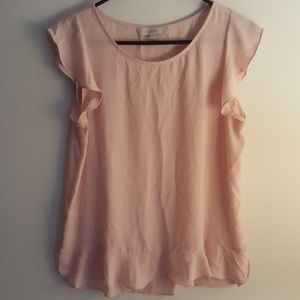 Loft medium pink short sleeve sheer blouse